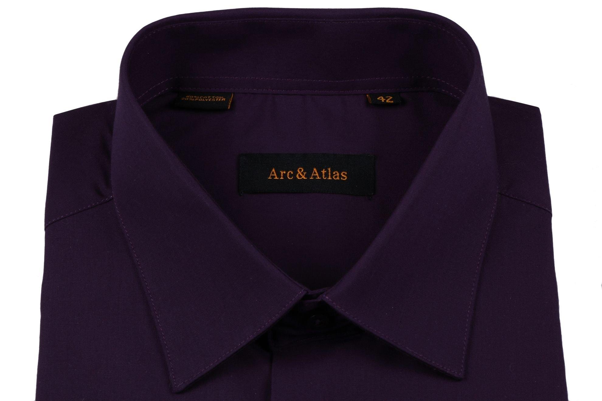 Рубашка мужская классика однотонная цвет темно-фиолетовый с длинным рукавом  (Арт. OD-014)