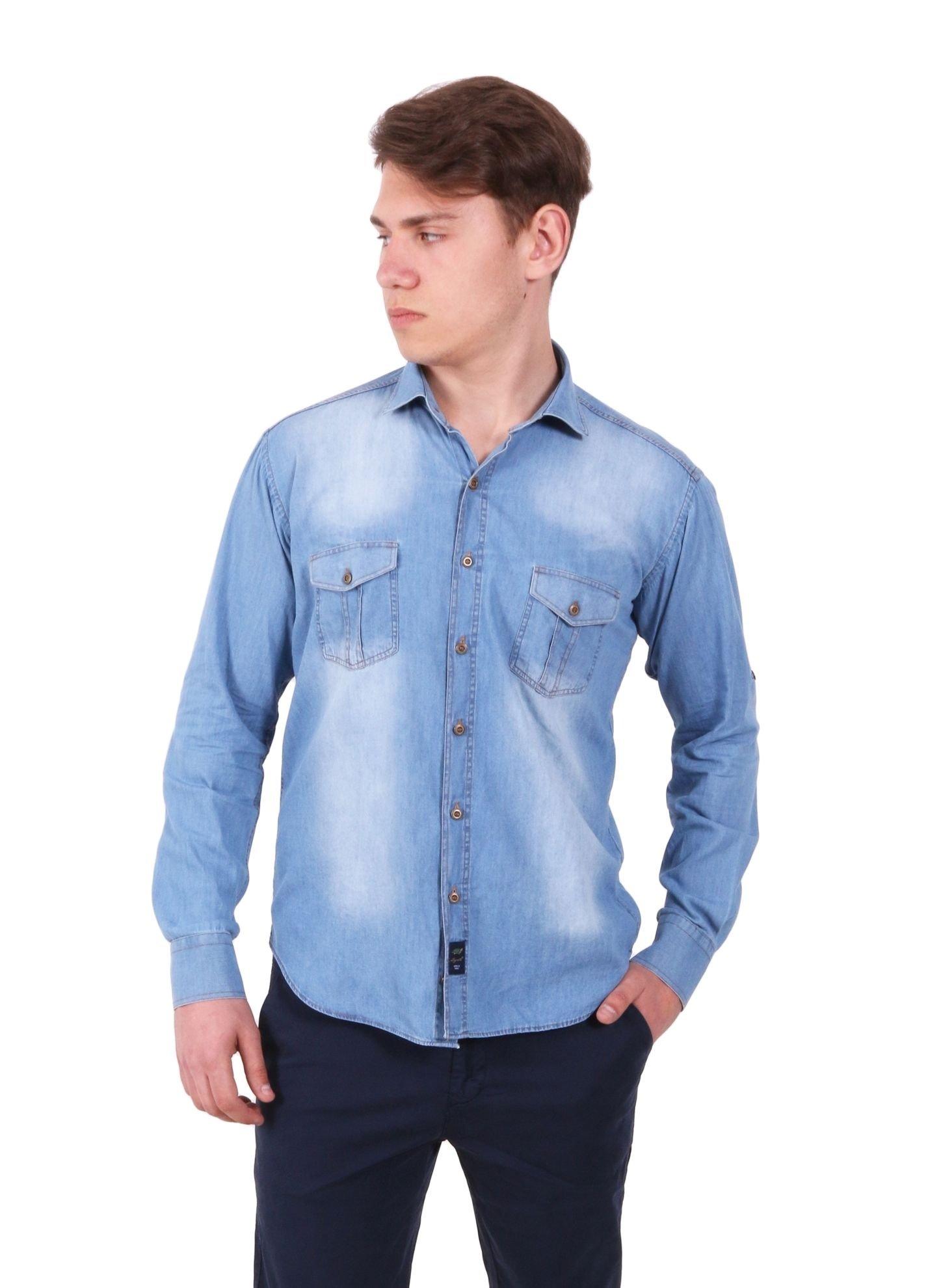 Джинсовая рубашка с рукавом трансформером (Арт. Т 2079-1)