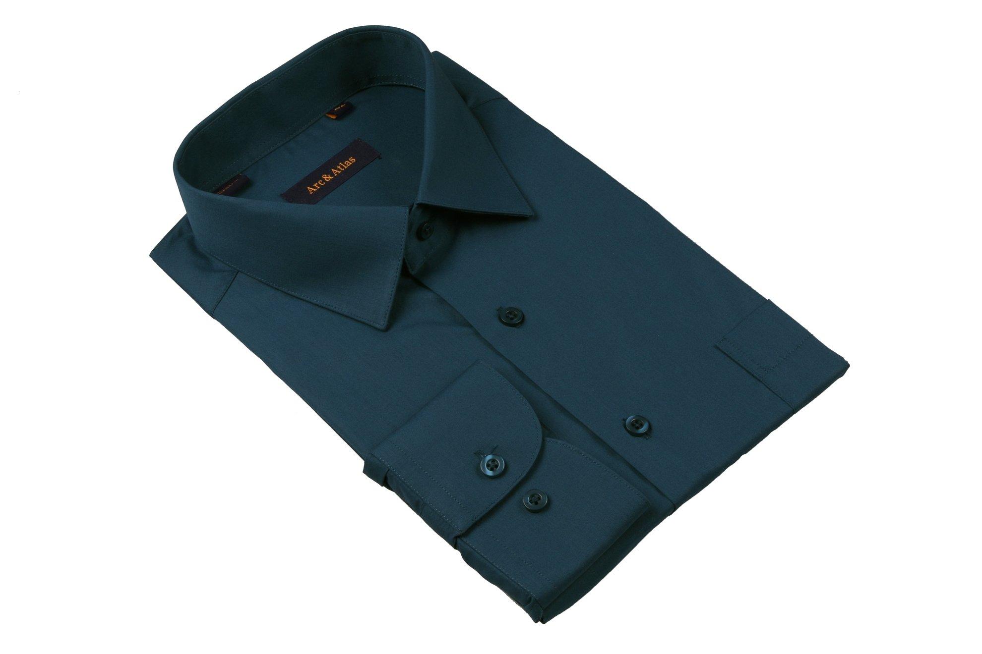 Рубашка мужская классика однотонная цвет тёмно-зеленый (изумрудный)  с длинным рукавом  (Арт. OD-015)