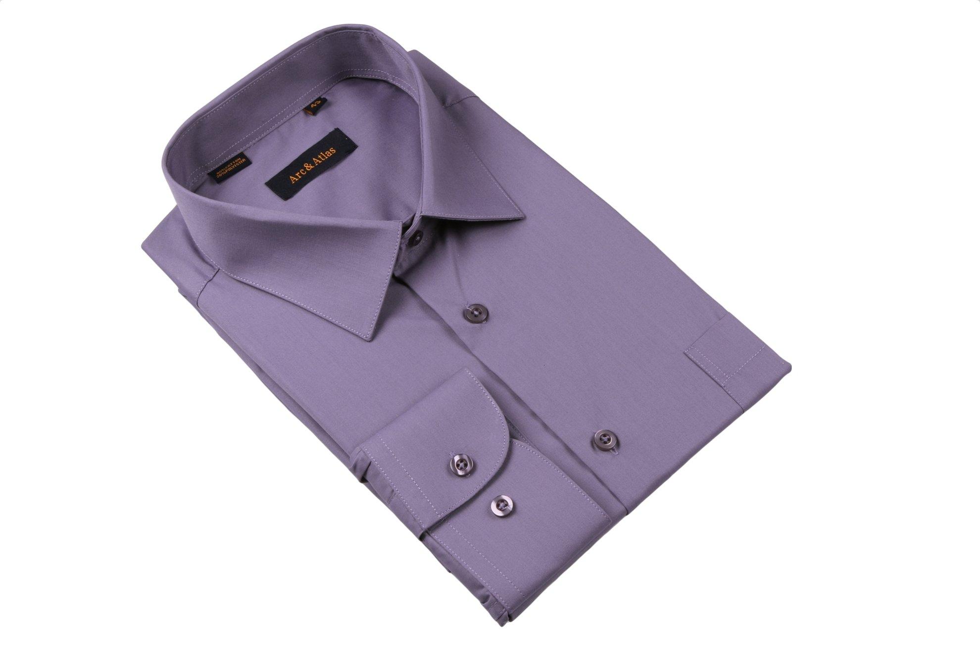Рубашка мужская классика однотонная цвет серый с нотками фиолетового  с длинным рукавом  (Арт. OD-012)