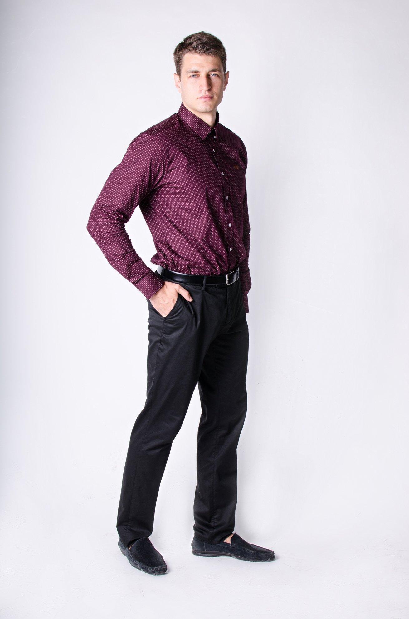 Мужская рубашка с мелким узором, длинный рукав (Арт.Т 2471)