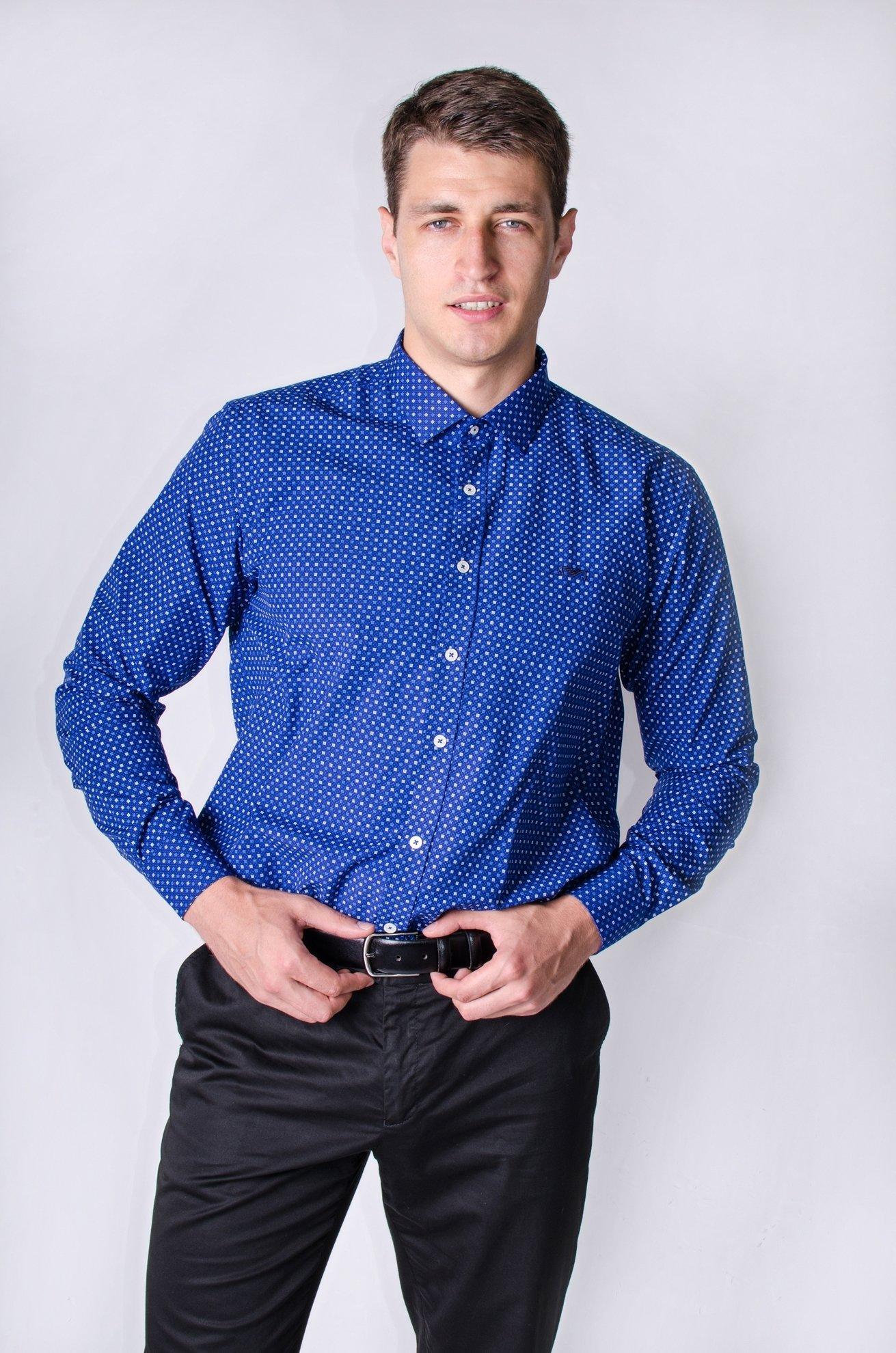 Синяя классическая рубашка с мелким узором, длинный рукав (Арт.Т 2478)