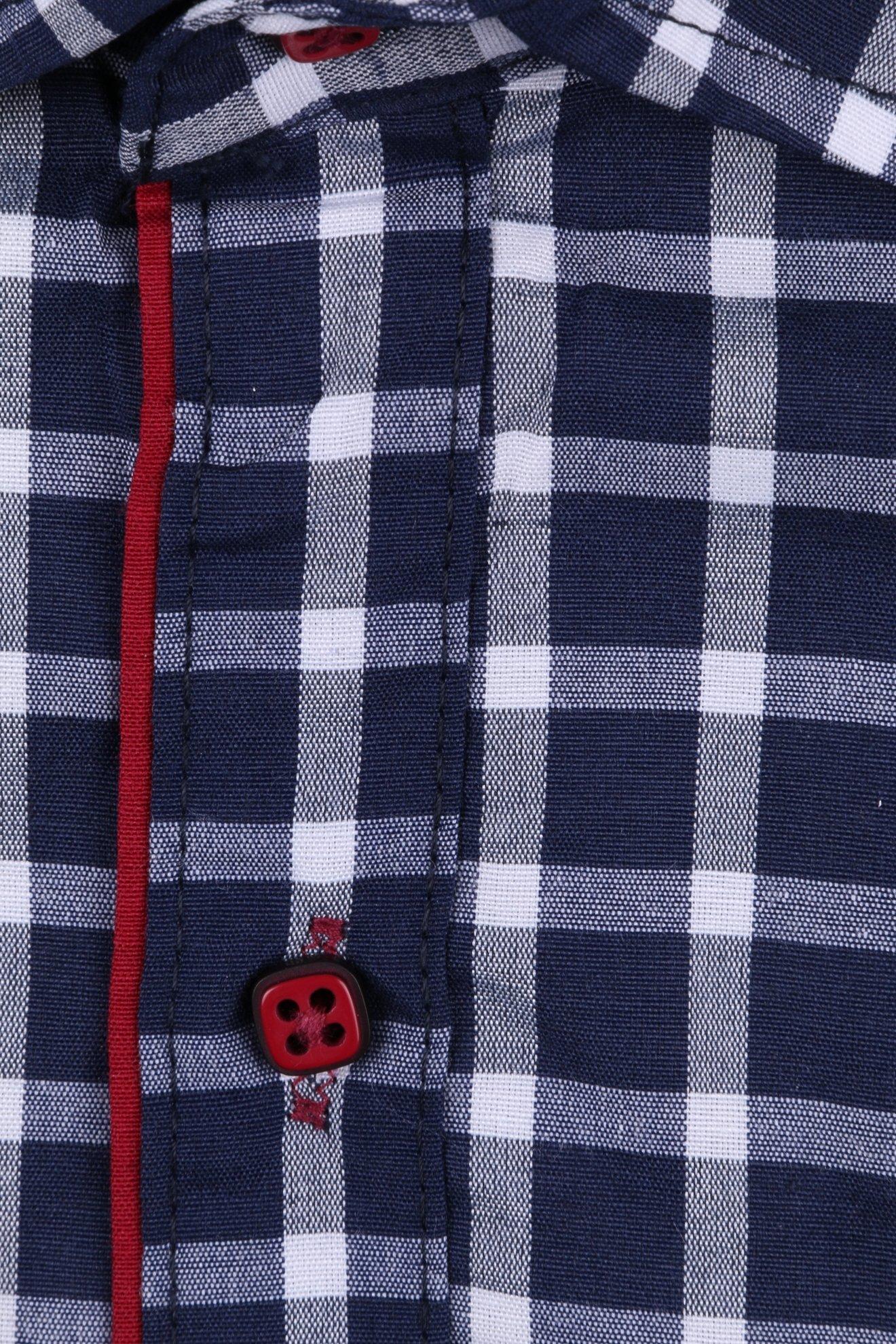 Темно-синяя детская рубашка в клетку, длинный рукав (Арт. TB 2616)