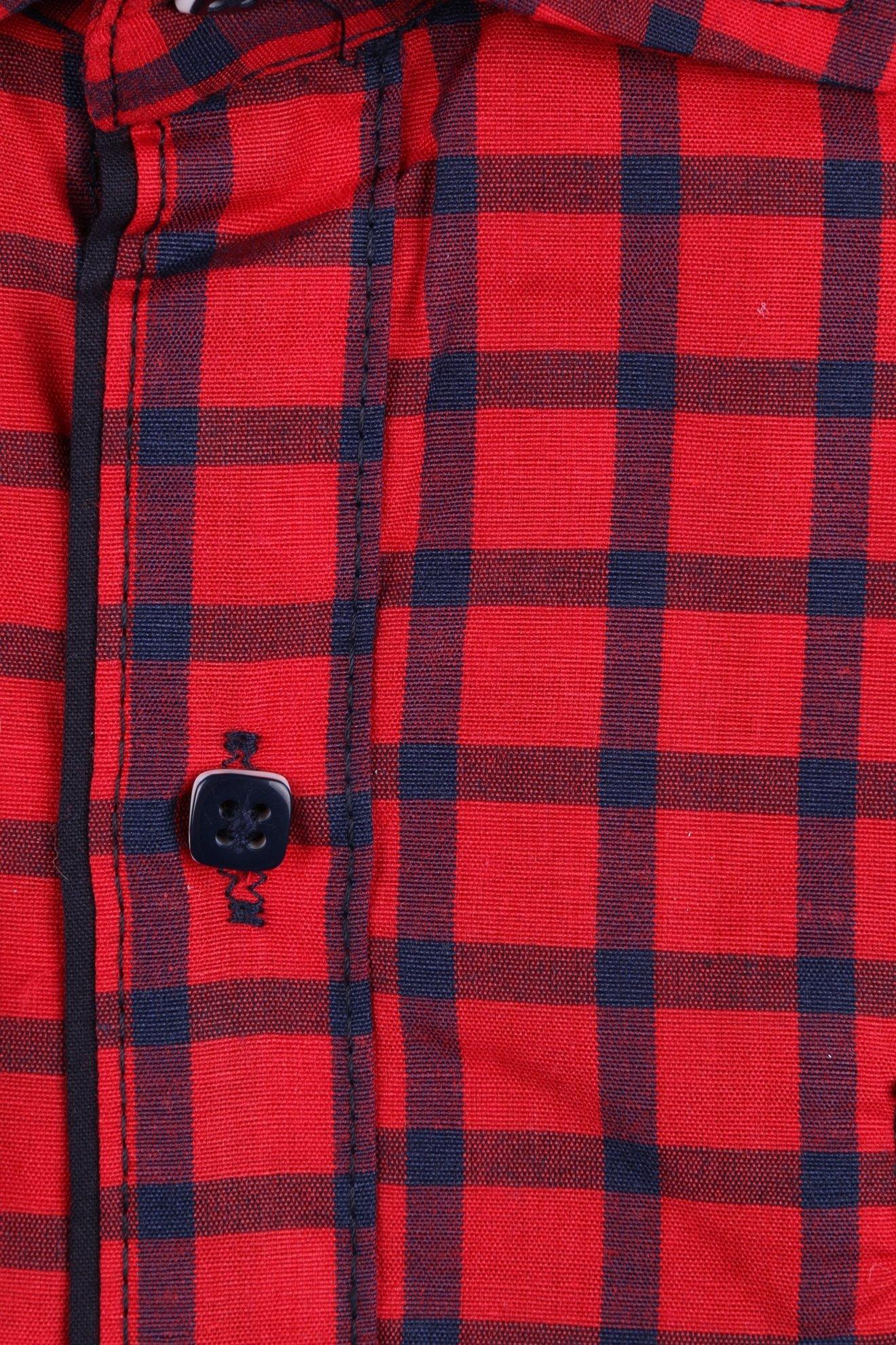 Комбинированная красная детская рубашка в клетку, длинный рукав (Арт. TB 2619)