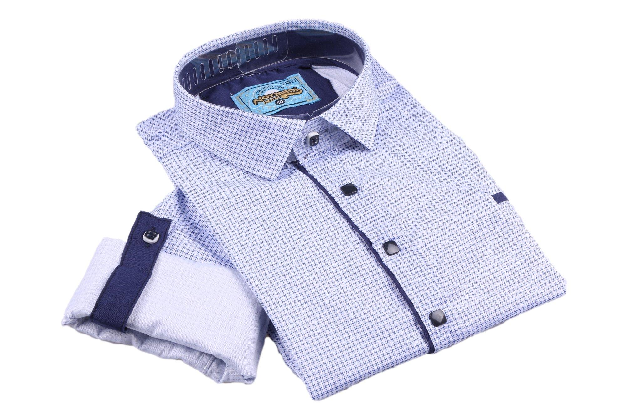 Комбинированная детская рубашка в мелкий узор голубого цвета , длинный рукав (Арт. TB 2626)
