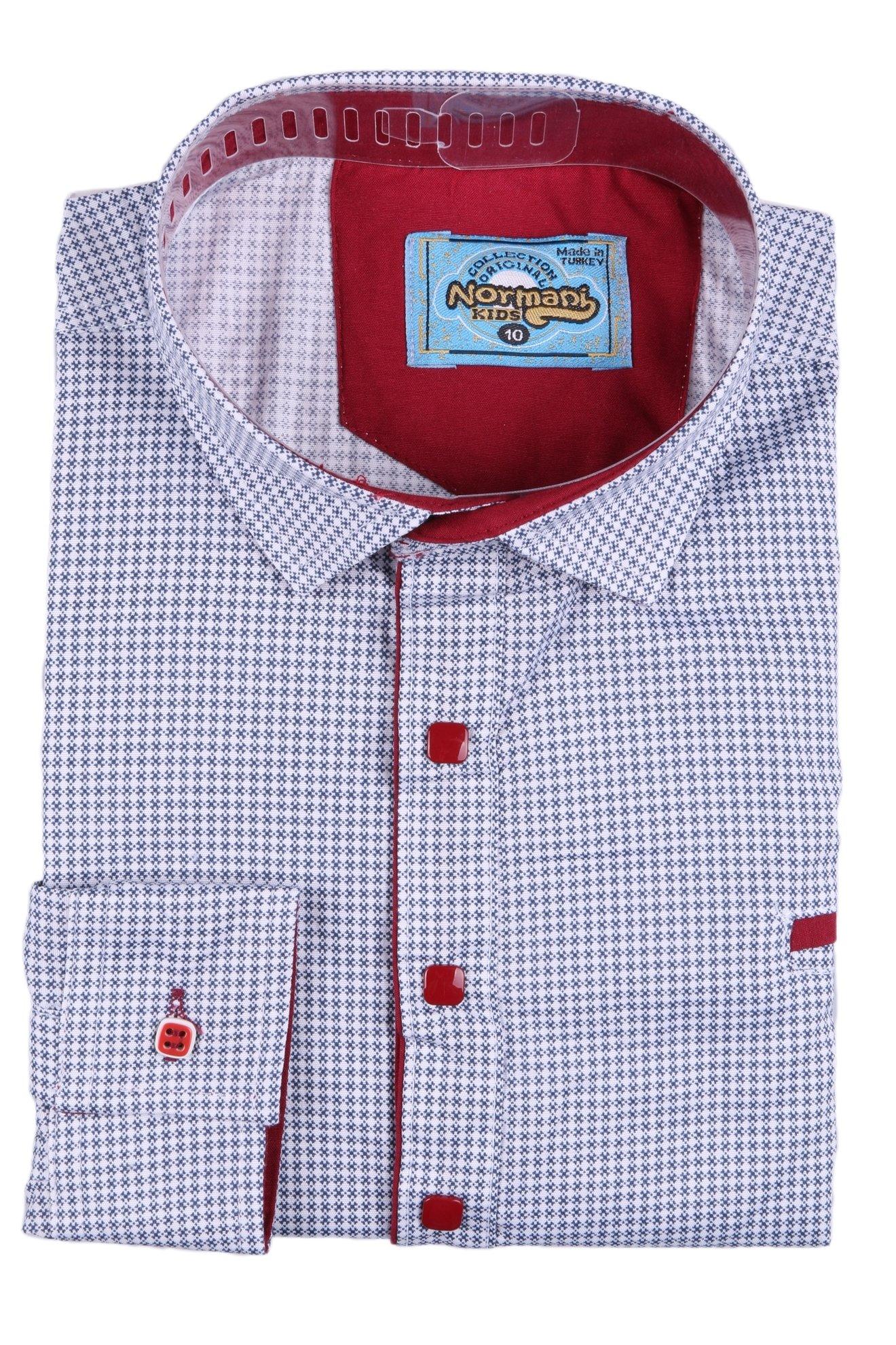 Комбинированная детская рубашка в мелкий узор, длинный рукав (Арт. TB 2628)