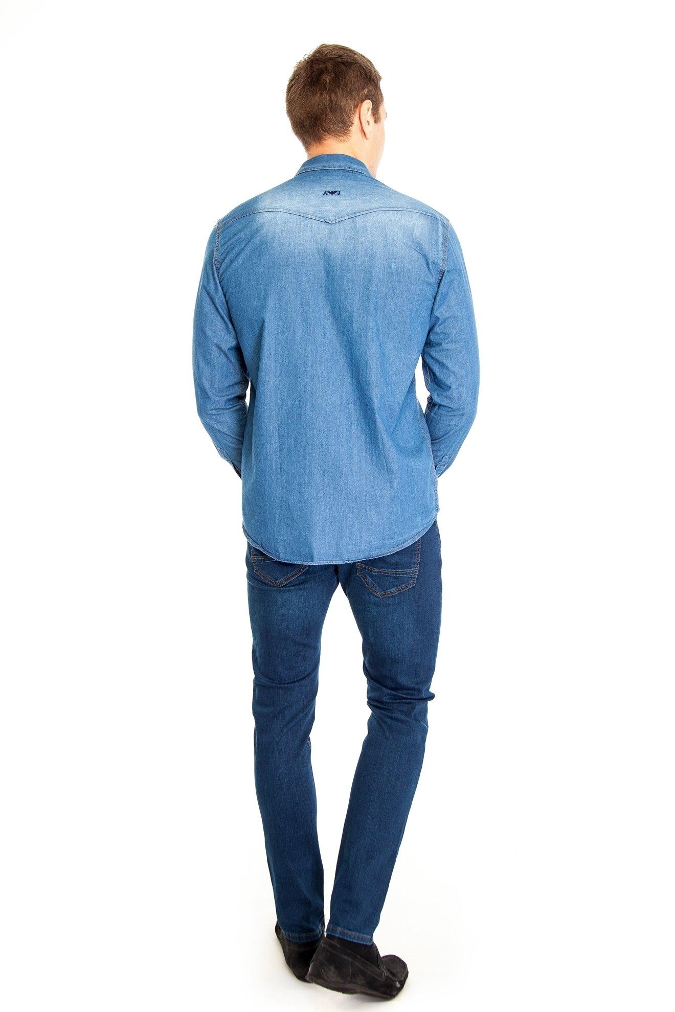 Джинсовая приталенная рубашка, длинный рукав (Арт. T 2577)