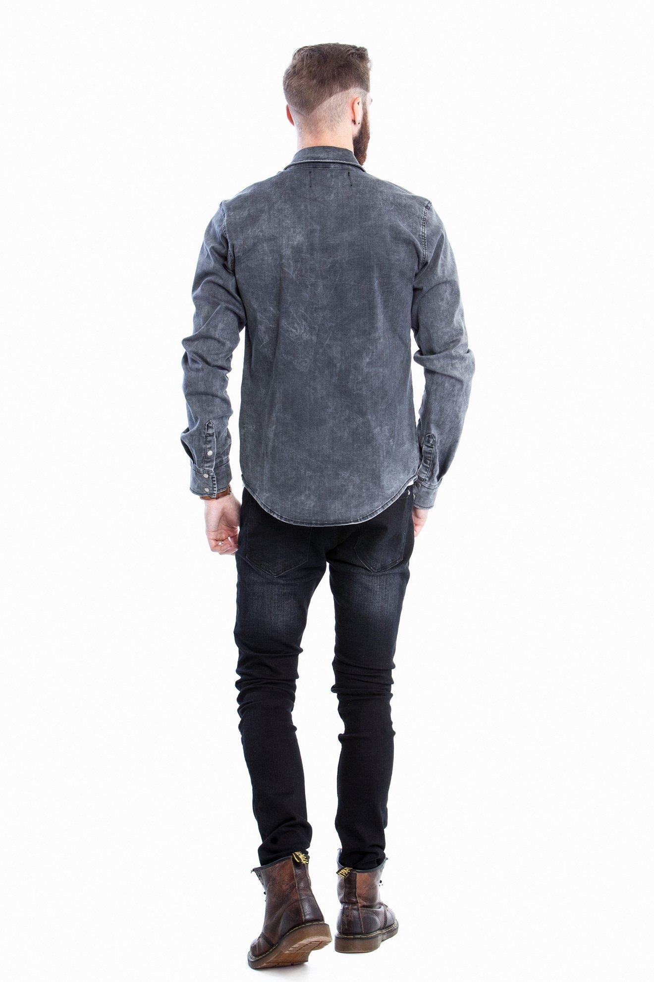 Джинсовая рубашка с нашивками, длинный рукав (Арт. T 2709)