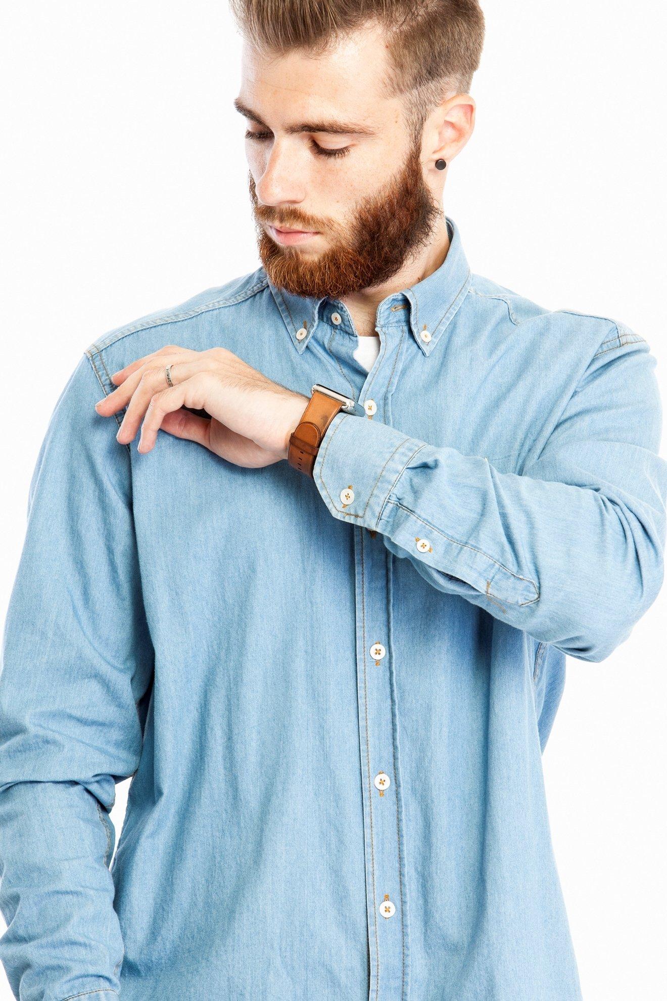 Джинсовая рубашка с длинным рукавом (Арт. Т 2725)