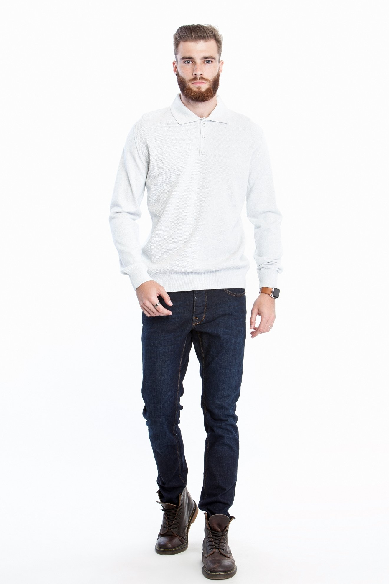 Джемпер с воротником поло белого цвета (Арт. POK 2669)