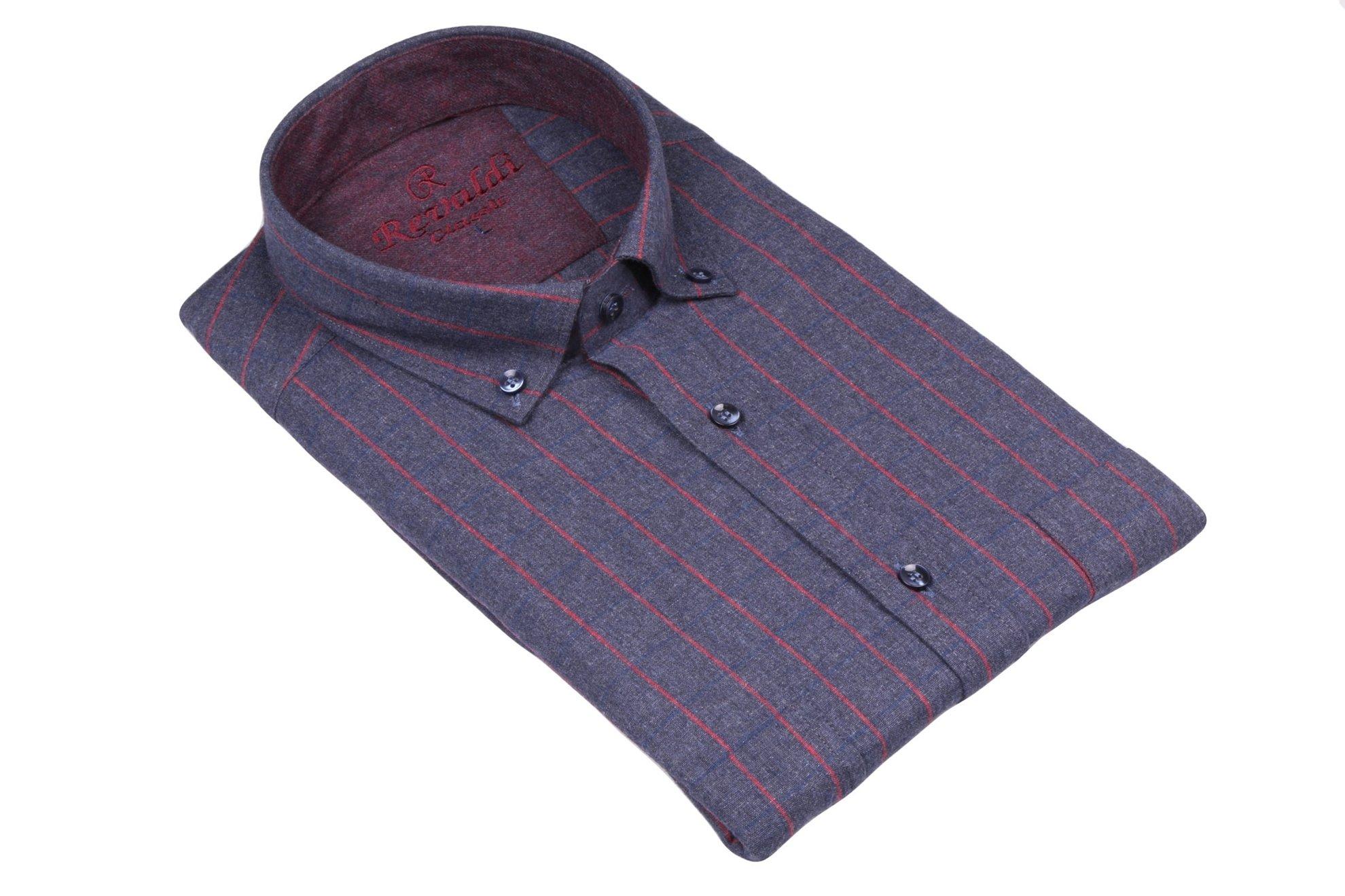 Классическая рубашка в клетку с длинным рукавом  (Арт. T 2752)