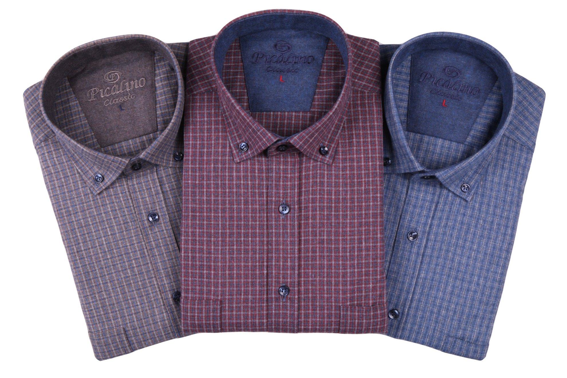 Классическая рубашка в клетку с длинным рукавом  (Арт. T 2754)