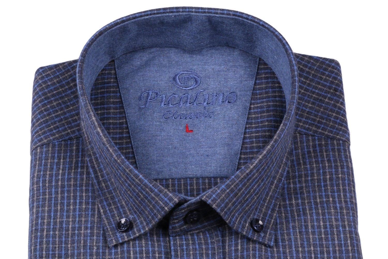 Классическая кашемировая рубашка в мелкую клетку с длинным рукавом  (Арт. T 2769)
