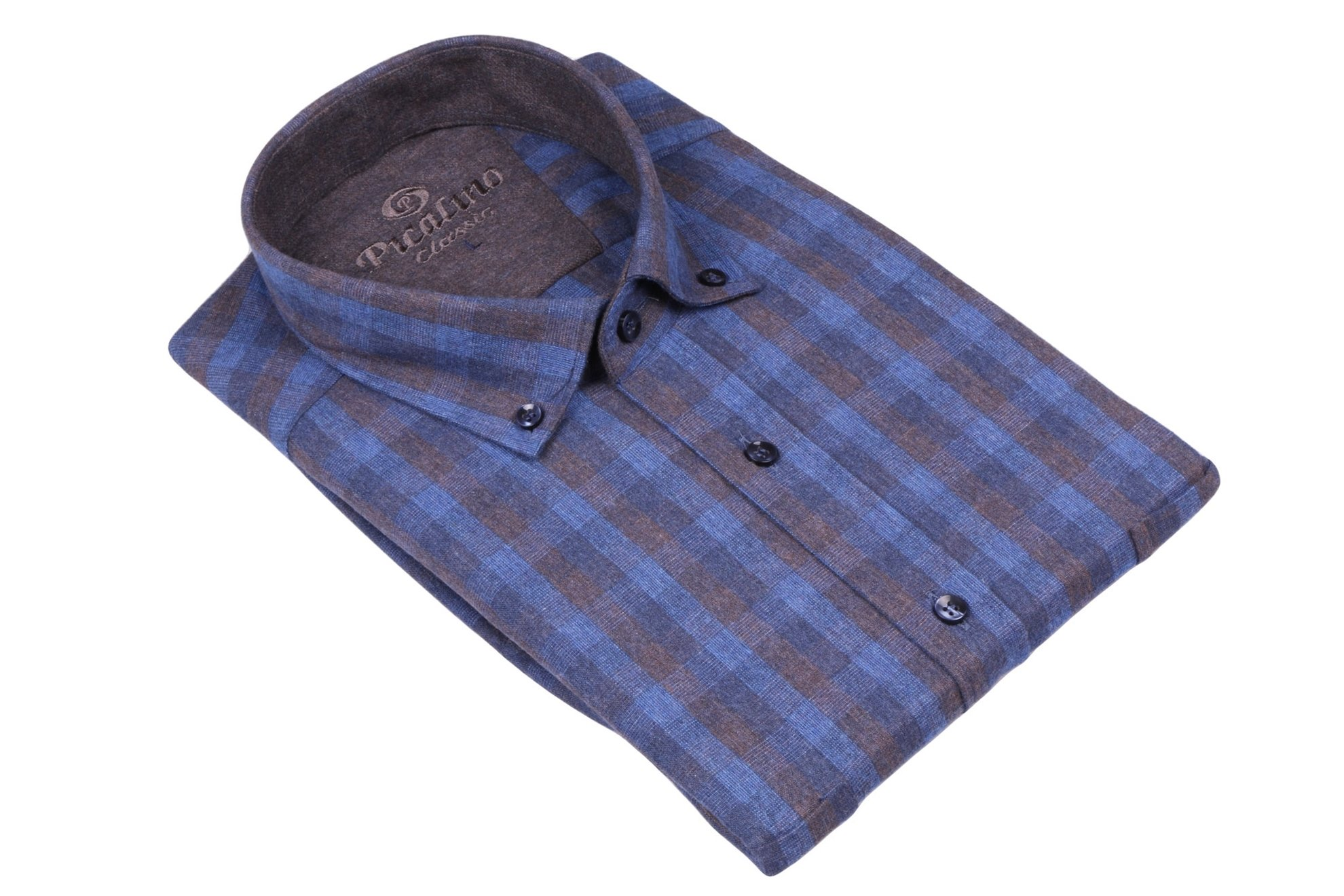 Классическая кашемировая рубашка в клетку с длинным рукавом  (Арт. T 2772)