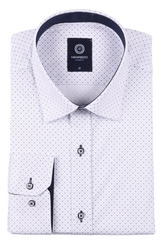 Стильная молодежная рубашка белого цвета в мелкий узор, длинный рукав (Арт. T 2795)