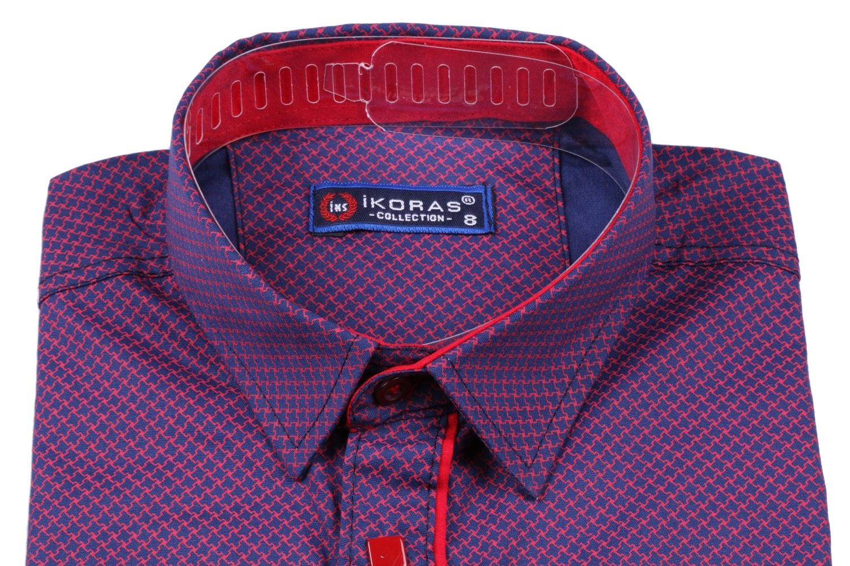 Детская комбинированная рубашка темно-синего цвета в узор, длинный рукав (Арт. TB 2819)