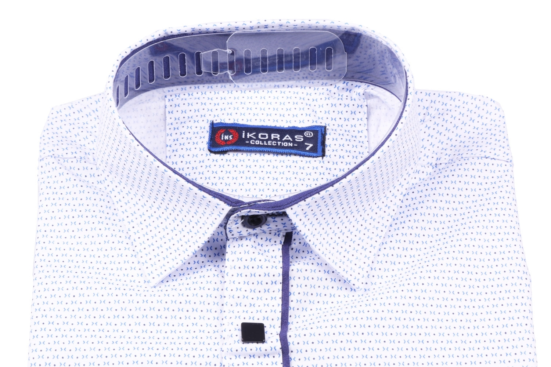 Детская белая рубашка в мелкий узор, длинный рукав (Арт. TB 2820)