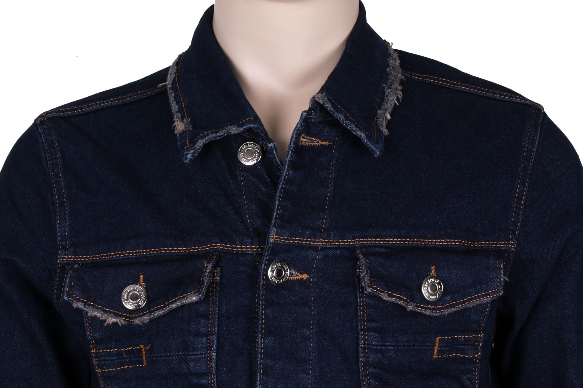Мужская джинсовая куртка темно-синего цвета  (Арт. TKY 3039)