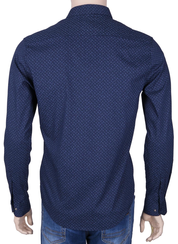 Стильная молодежная рубашка темно-синего цвета в мелкий узор, длинный рукав (Арт. T 3048)