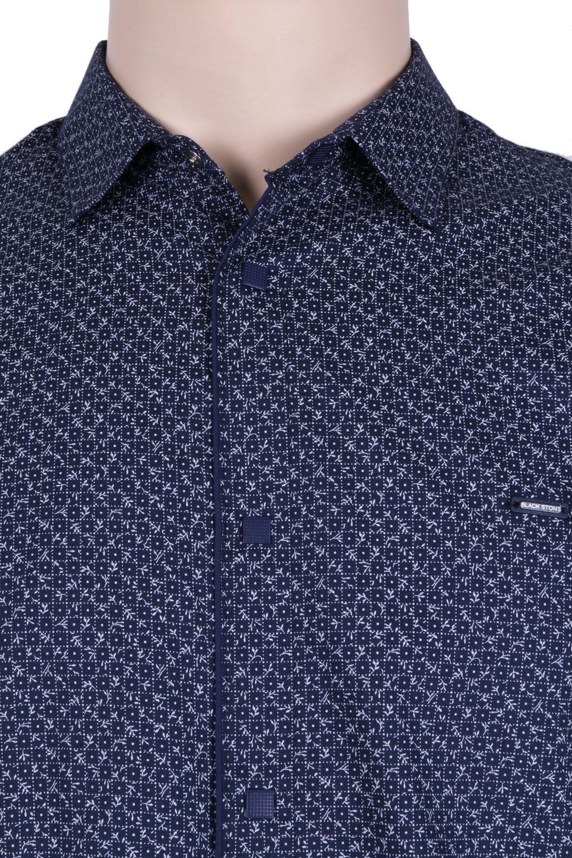 Стильная молодежная рубашка темно-синего цвета в мелкий узор, длинный рукав (Арт. T 3051)