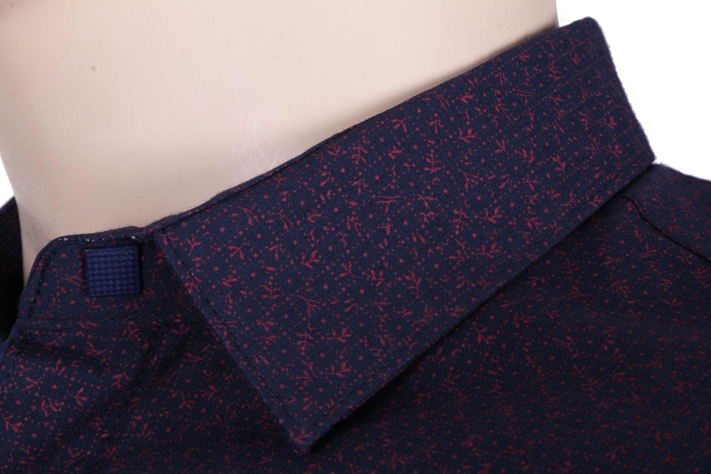 Стильная молодежная рубашка темно-синего цвета в мелкий узор, длинный рукав (Арт. T 3052)