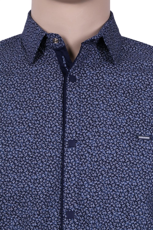Молодежная рубашка темно-синего цвета в мелкий узор, длинный рукав (Арт. T 3061)