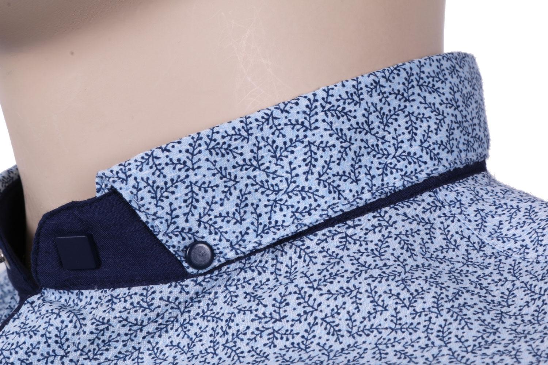 Молодежная рубашка голубого цвета в мелкий узор, длинный рукав (Арт. T 3065)