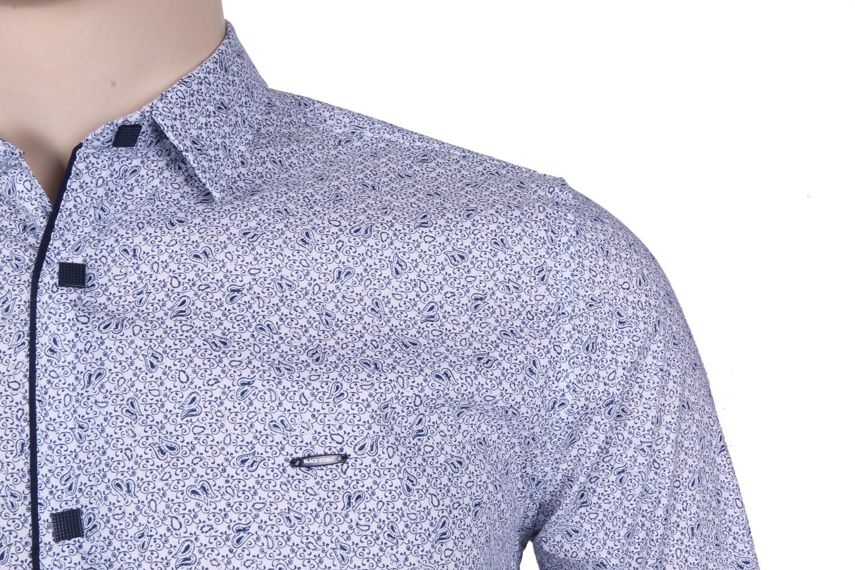Молодежная рубашка белого цвета в мелкий узор, длинный рукав (Арт. T 3067)