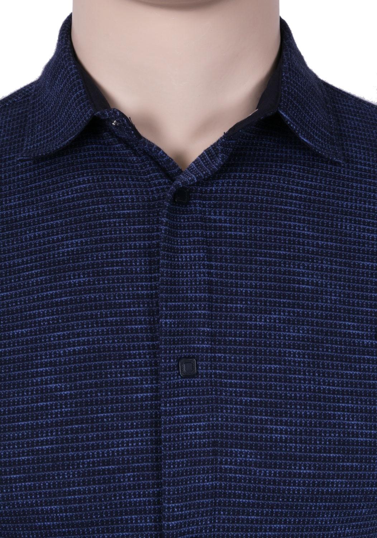 Стильная молодежная рубашка темно-синего цвета в мелкий узор, длинный рукав (Арт. T 3077)