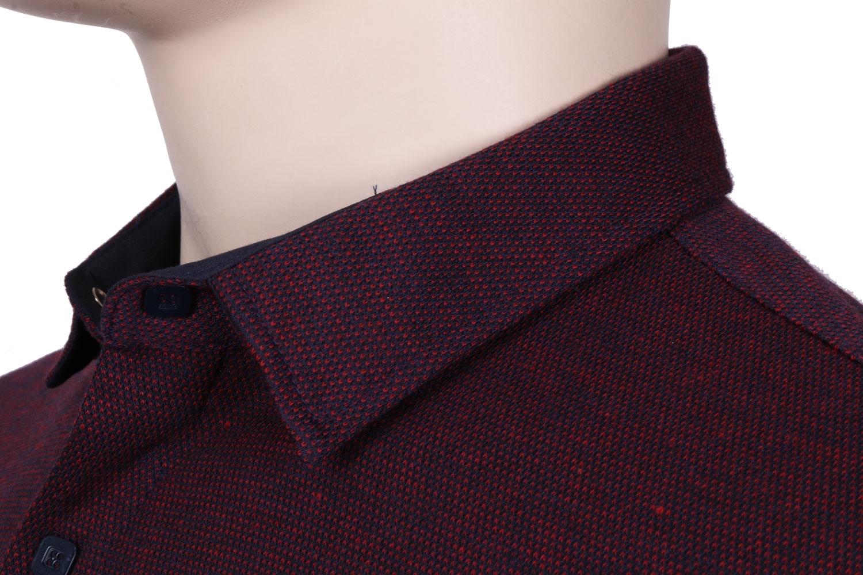 Стильная молодежная рубашка бордового цвета, длинный рукав (Арт. T 3082)