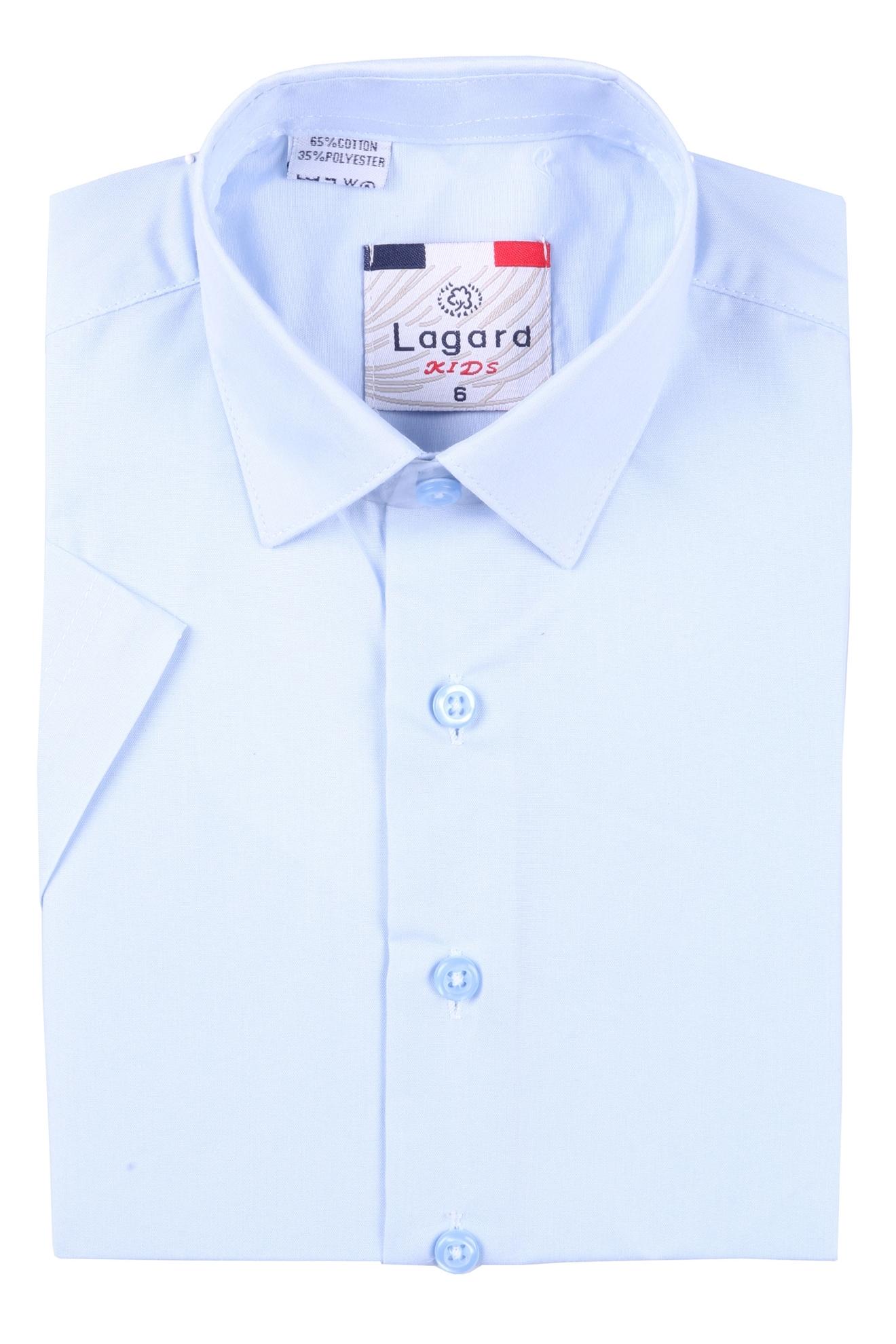 Детская однотонная голубая рубашка с коротким рукавом (Арт. B SKY 0926K)