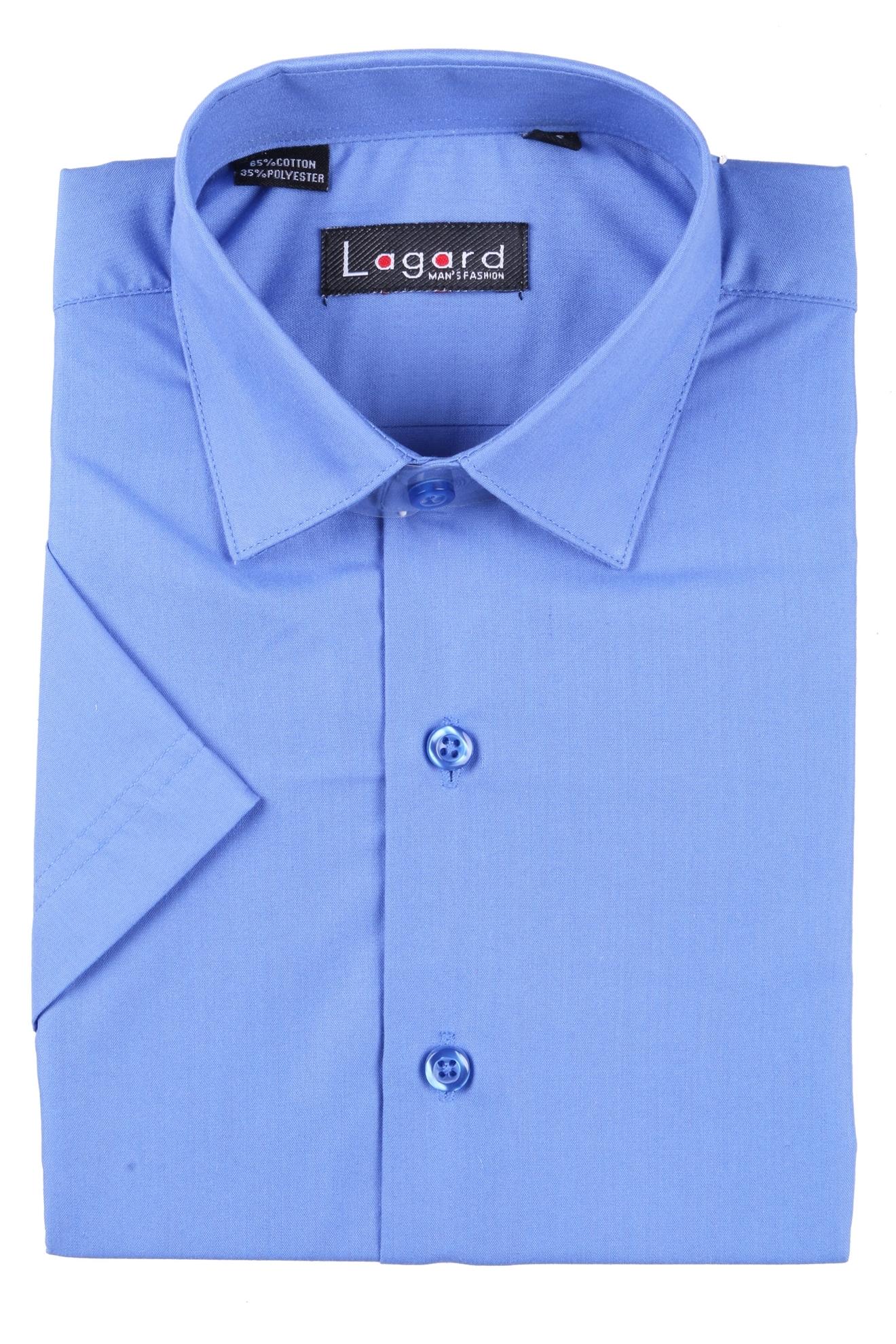 Детская однотонная синяя рубашка с коротким рукавом (Арт. B SKY 0939K)