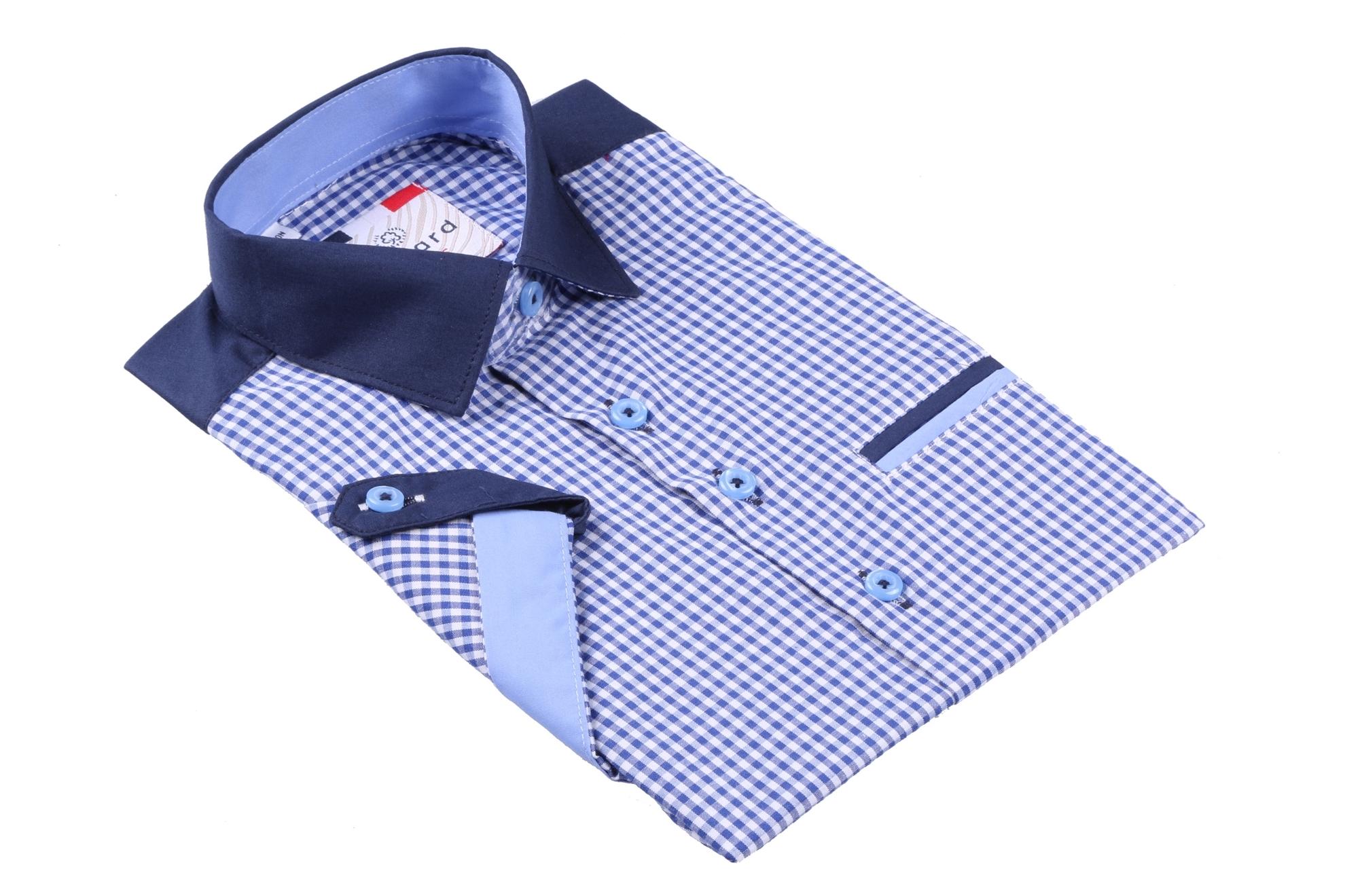 Детская рубашка в клетку с коротким рукавом (Арт. B SKY 2096K)