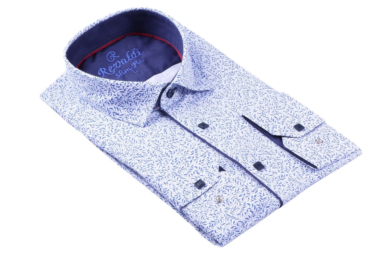 Стильная молодежная белая рубашка в мелкий узор, длинный рукав (Арт. T 3107)