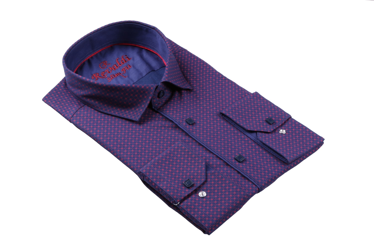Стильная молодежная рубашка в мелкий узор, длинный рукав (Арт. T 3108)
