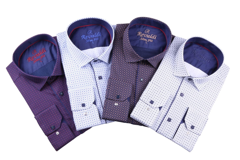 Стильная молодежная белая рубашка в мелкий узор, длинный рукав (Арт. T 3109)