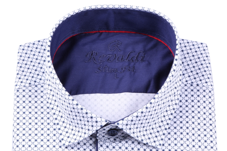 Стильная молодежная белая рубашка в мелкий узор, длинный рукав (Арт. T 3111)