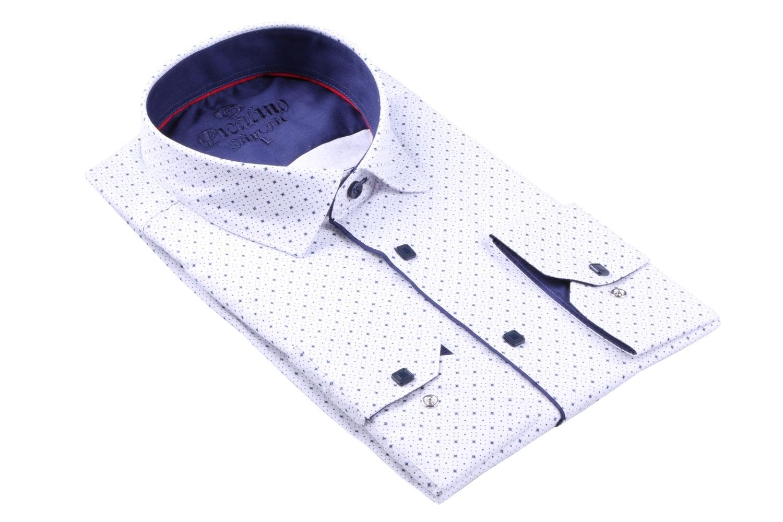Стильная молодежная белая рубашка в мелкий узор, длинный рукав (Арт. T 3113)