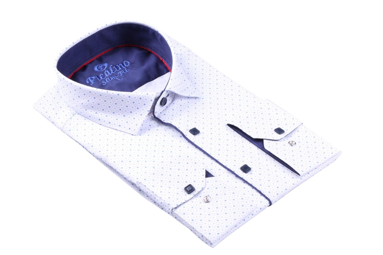 Стильная молодежная белая рубашка в мелкий узор, длинный рукав (Арт. T 3116)