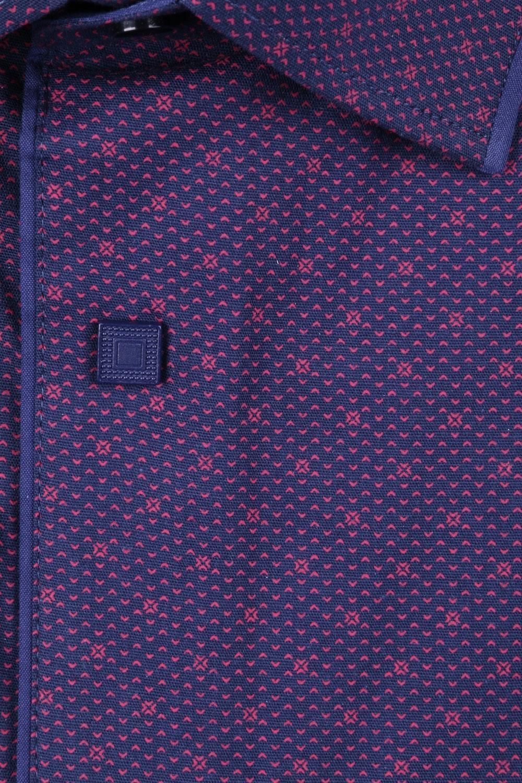 Стильная молодежная рубашка в мелкий узор, длинный рукав (Арт. T 3124)