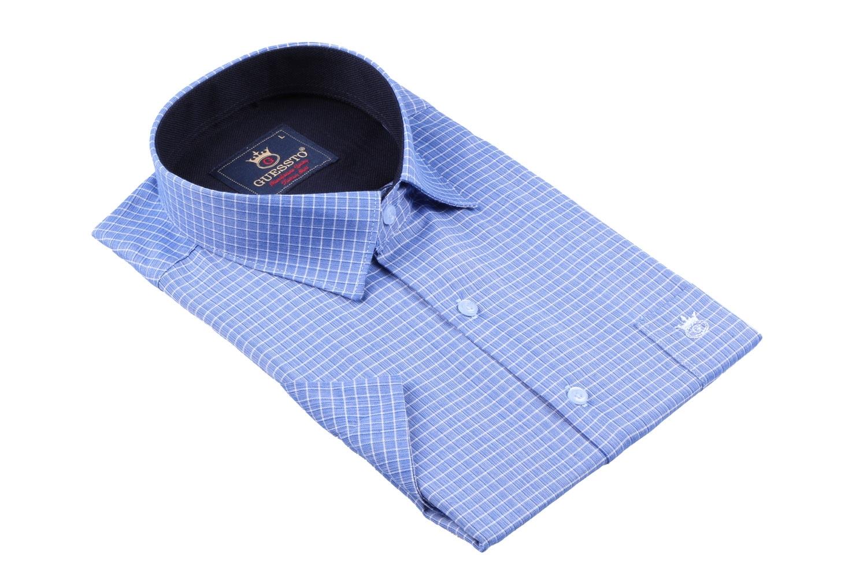 Мужская классическая рубашка в клетку, короткий рукав  (Арт. T 3174К)