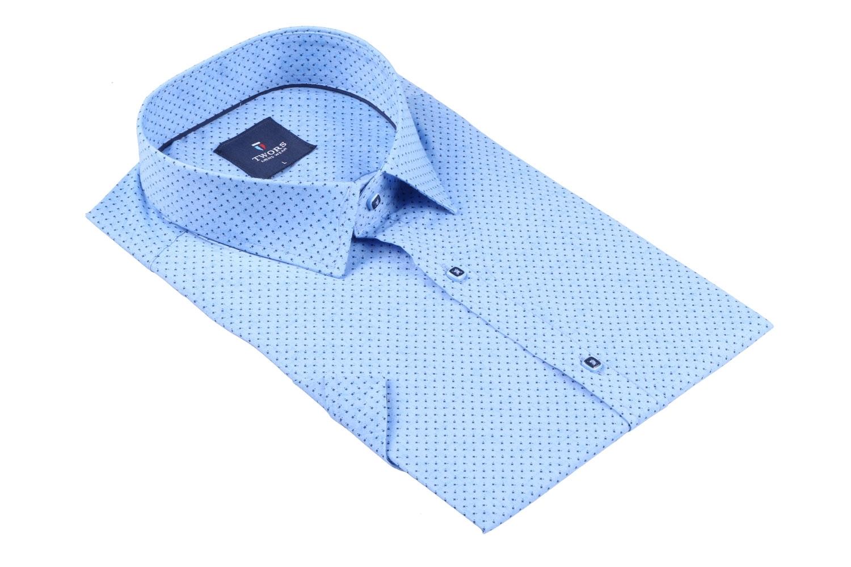 Мужская рубашка в мелкий рисунок, короткий рукав  (Арт. T 3264К)