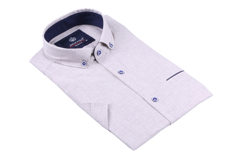 Мужская рубашка однотонная, короткий рукав  (Арт. T 3277К)