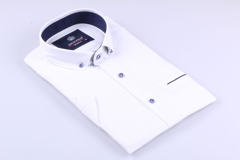 Мужская рубашка однотонная, короткий рукав  (Арт. T 3279К)