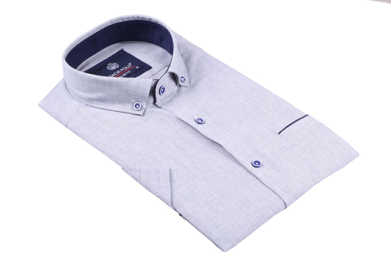 Мужская рубашка однотонная, короткий рукав  (Арт. T 3280К)