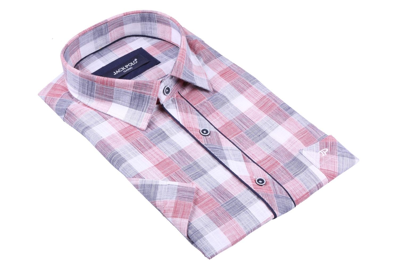 Мужская рубашка в клетку, короткий рукав  (Арт. T 3286К)