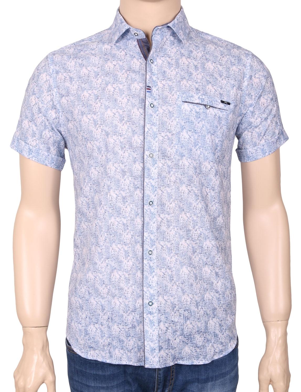 Мужская стильная рубашка в рисунок, короткий рукав  (Арт. T 3353К)