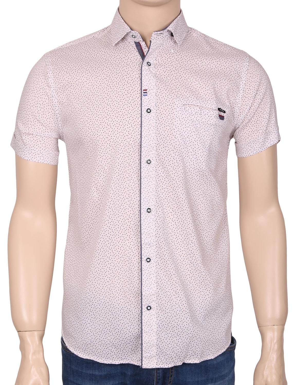 Мужская стильная рубашка в рисунок, короткий рукав  (Арт. T 3361К)