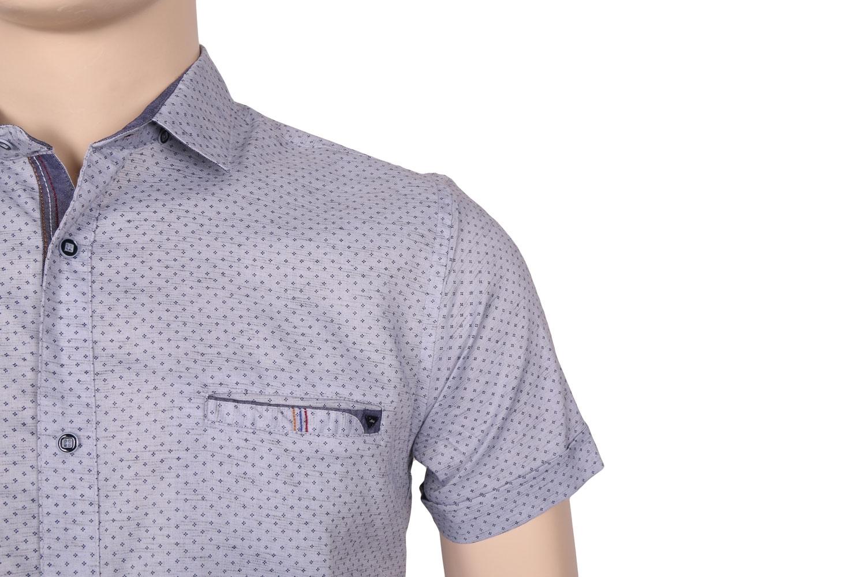 Мужская стильная рубашка в рисунок, короткий рукав  (Арт. T 3369К)