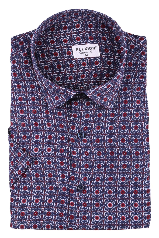 Мужская стильная рубашка в рисунок, короткий рукав  (Арт. T 3423К)